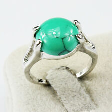Turquoise Gemstone Fashion  Jewelry 925 Silver Men Women Ring Size 8