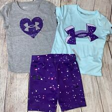 Under Armour 4 5 6 6x Purple Blue Splatter Outfit Set NEW 3pc Summer