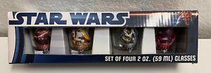STAR WARS Shot Glasses - 2 oz Set of 4 - Vader Trooper Yoda Maul 2012 NEW in Box