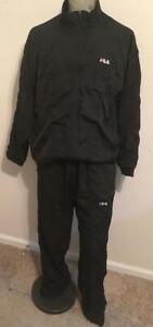 Vintage FILA Black Zip-Front Track Jacket & Pants Set Tracksuit   XL  RETRO