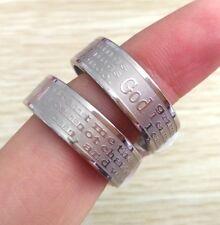 6X engrave Serenity Prayer Wedding Rings Religious Jesus Stainless Steel Jewelry