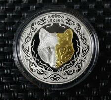 Kazakhstan: 500 Tenge  2018 New! Wolf (Kokbori) PROOF Silver 1OZ Gilded+Diamond