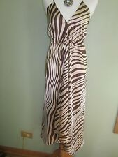 La Salamandre Eze Village Silk Brown Beige Zebra Stripes Dress Size M