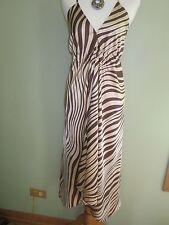 La Salamandre Eze Village Silk Brown Beige Zebra Stripes Dress Size M
