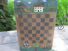 Vintage folk art game board/checkers/cows/trees/signed & dated. On breadboard