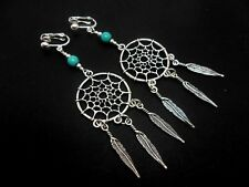 A PAIR OF LONG DANGLY TURQUOISE BEAD DREAMCATCHER CLIP ON EARRINGS. NEW.