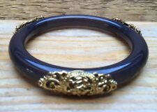 Chunky Antique Look Purple Bangle/Gold Metal Decoration/Plastic/Ornate/Indian