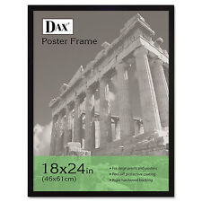 Dax Flat Face Wood Poster Frame Clear Plastic Window 18 x 24 Black Border