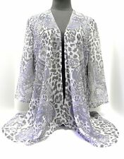 Chico's NWT Semi-Sheer Cascade Open Front Jacket Leopard/Paisley Print, Size 1