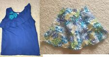 Gymboree Sea Splash Blue Ruffle Top tee floral flower skirt Size 6 7 Euc