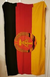 DDR Fahne, Original, 120 cm x 70 cm, Emblem beidseitig aufgenäht