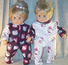 "Doll Clothes Baby Made 2 Fit American Girl 15"" in 2pc Twin Hello Kitty Pajamas"