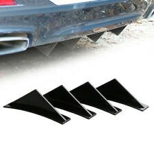 4x Triangle Shark Fins Wing Car Rear Bumper Lip Diffuser Splitter Spoiler Black