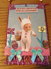 Original, OOAK mixed media Easter decoration, cottage chic, Easter Bunny. CUTE!