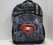 "DC Comics SUPERMAN vs BATMAN BACKPACK - 16"" Large  Bag - Gray Black *NEW*"