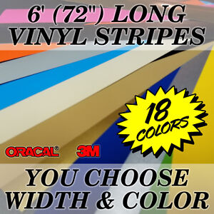 """72"""" Vinyl Racing Stripe Pinstripe Decals Stickers *20 COLORS* Rally Stripes"""