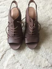 NEW M&S INDIGO TAUPE BROWN LEATHER HEELED LACE UP SHOES SIZE 5.5