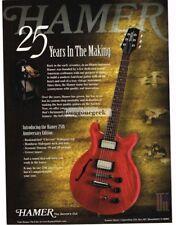 1999 Hamer 25th Anniversary Electric Guitar Vtg Print Ad