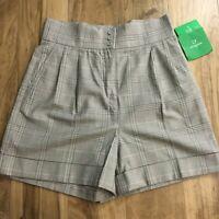Liz Claiborne Golf Shorts Size 8 Womens NWT 1940s Retro Plaid Tap Short 59$ NEW