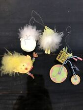 Lot of 4 Easter Ornaments Chick, Bunny, Frog, Bike Metal Cute! Full Of Spring