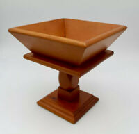 Wood Fruit Bowl Pedestal Square Collectible Home Decor Hand Made Vintage