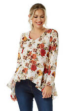 Roman Originals Women's Boho Peplum Floral Top Sizes 10-20