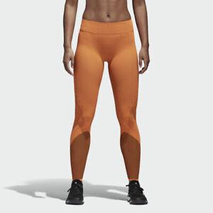 Adidas Warp Knit Tight Orange Black Leggings Yoga Womens Size Medium MSRP $100