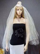 Vtg 1940s Hepburn Style Ecru Silk Wedding Hat Tulle Veil Combo - Unique ; - )