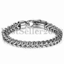 "8MM Biker Men Silver Gold Stainless Steel Figaro Box Curb Chain Bracelet 8.7"""