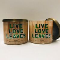 2 Bath & Body Works Live Love Leaves 3 Wick Large Scented Candles 14.5 oz New