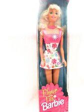 Flower Fun Barbie ~ Vintage Doll, Dress, Earrings and Shoes ~ 1996