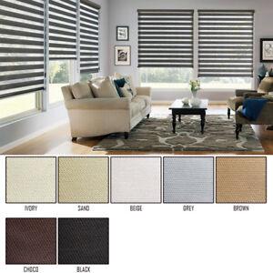 Window Blackout Blinds 100% Zebra Shade semi 2 Fabrics Anti Uv Custom Made