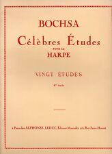 """PARTITION BOCHSA """"CELEBRES ETUDES pour La HARPE"""" 20 ETUDES 1ere SUITE A. LEDUC"""