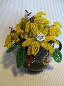 Yellow & White Floral Arrangement in Brown Pot, Vintage ~ Very Elegant