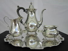 Graff Washbourne & Dunn Sterling Silver 4 Piece Complete Coffee/Tea Set, Vintage