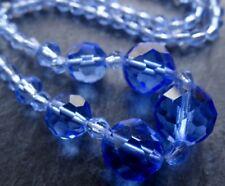 vintage art deco jewellery blue facet cut glass graduated bead necklace -D383