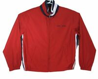 Tommy Hilfiger Classic Red White Blue Zip Up Windbreaker Jacket Mens Size Medium