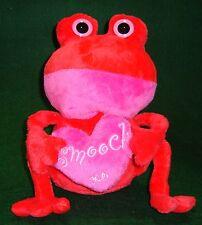 Plush Fat Red Frog w/ Pink Smooch Heart Poly Fiber Plastic Pellets Age 4+   1068