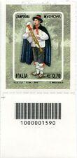 2014 francobollo Europa - Zampogna Strumenti Musicali SX CODICE A BARRE 1590