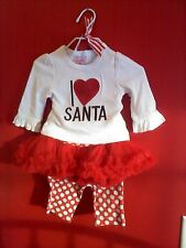 mudpie Christmas I LOVE SANTA Playset top  leggings tutu set 0-6 Months NEW!