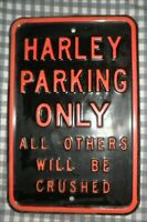 Vintage Harley Davidson Parking Only All Others Will Be Crushed,Thick Metal Sign