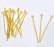 300Pcs Gold Plated Eye Pins 50x0.7mm