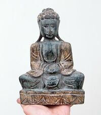 Old Carved Wooden Statue Of Buddha - Hand Painted Sculpture - Great Character