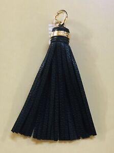 New Michael Kors MK Logo Gold Charm Black Pebble Leather Tassel Handbag Fob