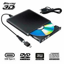 External Blu Ray DVD Drive 3D, USB 3.0 Typc C Portable Bluray DVD CD Optical Bur