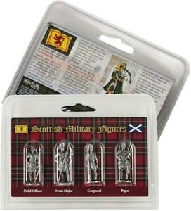 Set Of 4 Silver Pewter Scottish Military Figures -  Quality Gift Idea