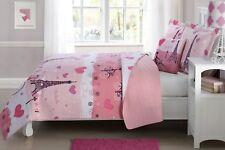 Pink Paris 4 Pcs Twin/ Full Size Kids Boys Girls Quilt/ Shams/ Cushion Set
