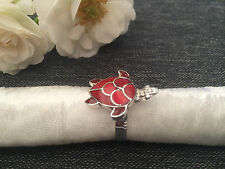 925 STERLING SILVER RING - CORAL RED - GREEN SEA TURTLE ADJUSTABLE SIZE RING