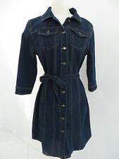 "3/4 sleeve knee length Indigo Blue denim jeans dress-shirt,""Bandolino""sz.S NWT"