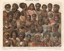 B6588 Tipi dell'Oceania - Cromolitografia antica del 1890